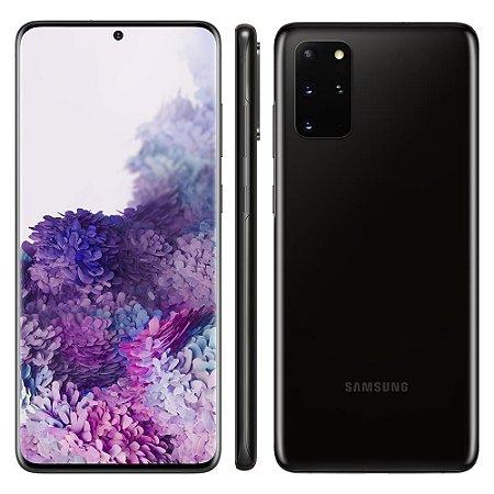 """Samsung Galaxy S20+ (Plus) - Preto 128GB, 8GB RAM, Tela Infinita de 6.7"""", Câmera Traseira Quádrupla, Câmera Frontal 10MP, IP68 e Leitor de Digital - Novo Lacrado na Caixa"""