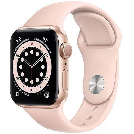 Apple Watch Series 6 40 mm A2291 MG123LL/A GPS - Gold Aluminum / Pink Sand - Novo Lacrado na caixa - 1 Ano de Garantia Apple