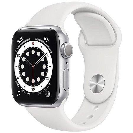 Apple Watch Series 6 40 mm A2291 MG283LL / A GPS - Silver Aluminum / White Sand - Original Lacrado na Caixa - 1 Ano de Garantia Apple