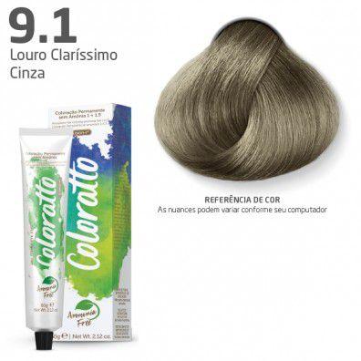 COLORAÇÃO SEM AMÔNIA COLORATTO 60G LOURO CLARÍSSIMO CINZA 9.1