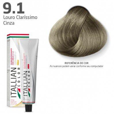 COLORAÇÃO ITALLIAN COLOR 60G LOURO CLARÍSSIMO CINZA 9.1