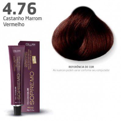 COLORAÇÃO ITALLIAN COLOR SOPREMO 60G CASTANHO MARROM VERMELHO 4.76