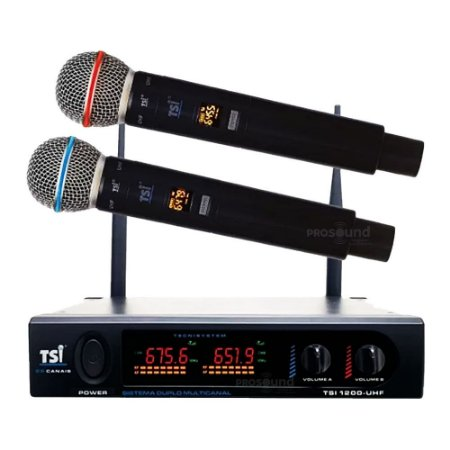 Microfone Sem Fio TSI 1200 UHF Duplo Bastão