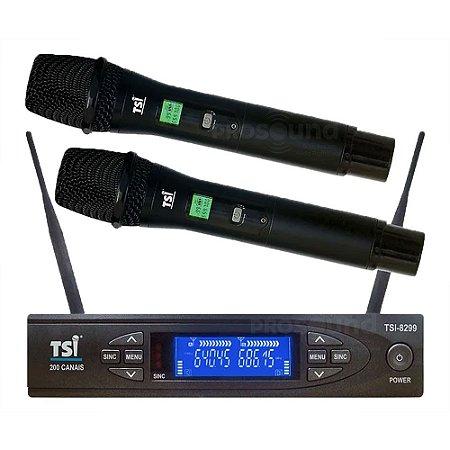 Microfone Sem Fio TSI 8299 UHF Duplo Bastão