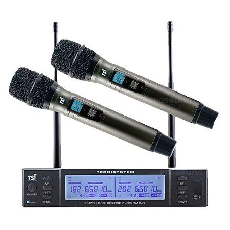 Microfone Sem Fio TSI BR 8000 UHF Duplo Bastão