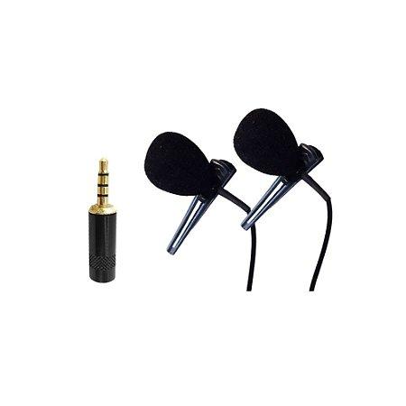 Microfone Lapela P3 duplo para Smartphone New Live