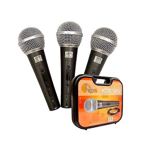 Microfone KADOSH KDS 58V - Kit com 3 peças