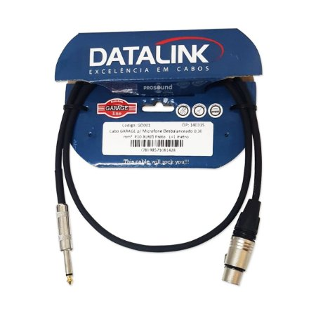 Cabo Microfone Xlr P10 Datalink Desbalanceado Garage 0,30 mm² 1 Metro