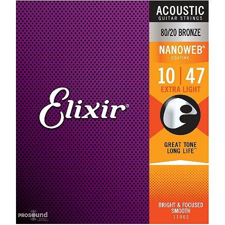 Encordoamento Violão Aço Elixir 010 Extra Light