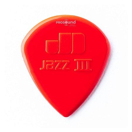 Palheta Dunlop Jazz III Nylon Vermelha