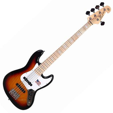 Contra Baixo SX SJB755 Ash Jazz Bass Passivo 5 Cordas Sunburst 3ts