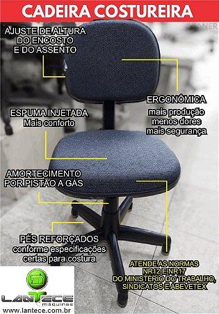 Cadeira Costureira Com Sapata Curta Nr17