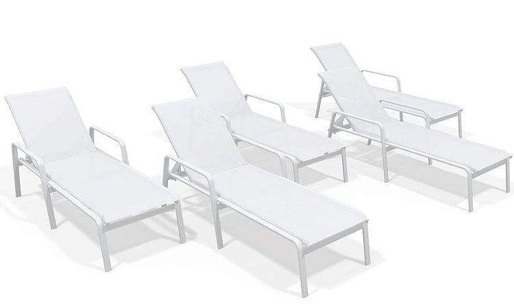 Kit 5 Espreguiçadeira Piscina Alumínio Branco Tela Branco