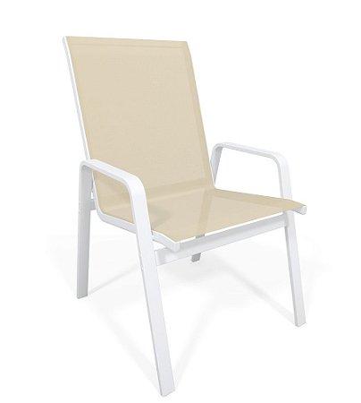 Cadeira Riviera Piscina Praia Alumínio Branco Tela Bege