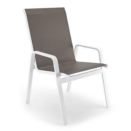 Cadeira Riviera Piscina Praia Alumínio Branco Tela Fendi