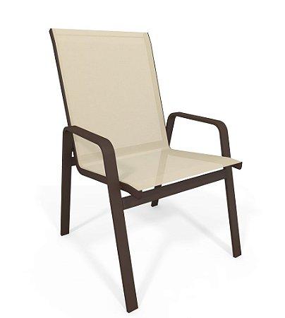 Cadeira Riviera Piscina Praia Alumínio Marrom Tela Bege