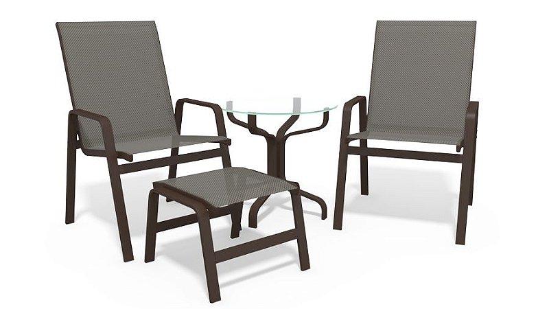 Conjunto 2 Cadeiras Mesa Riviera Alumínio Marrom Tela  Mescla