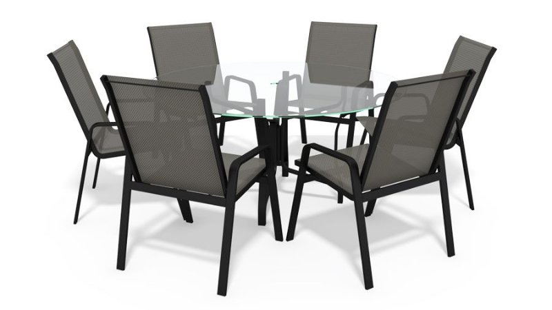 Conjunto 6 Cadeiras Alumínio Preto Tela  Mescla