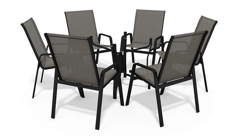 Conjunto 6 Cadeiras S/ Vidro Alumínio Preto Tela  Mescla