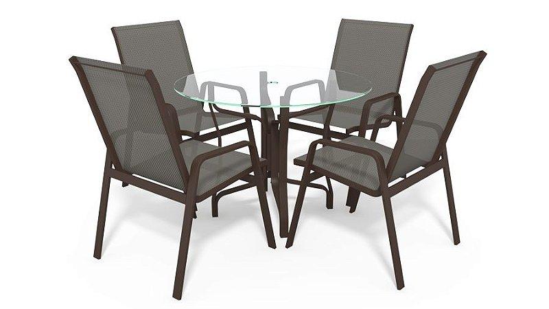 Conjunto de 4 Cadeiras Alumínio Marrom Tela  Mescla