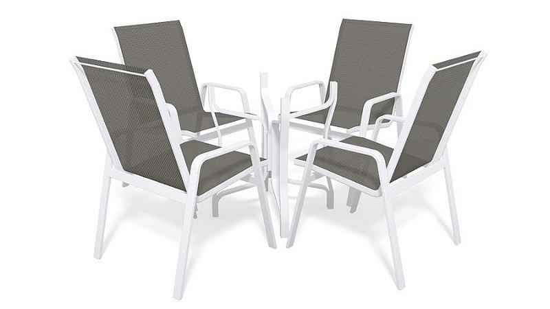 Conjunto de 4 Cadeiras S/ Vidro Alumínio Branco Tela  Mescla