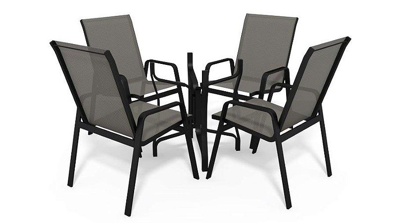 Conjunto de 4 Cadeiras S/ Vidro Alumínio Preto Tela  Mescla