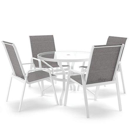 Conjunto de 4 Cadeiras Vidro Juquey Alumínio Branco Tela Mescla