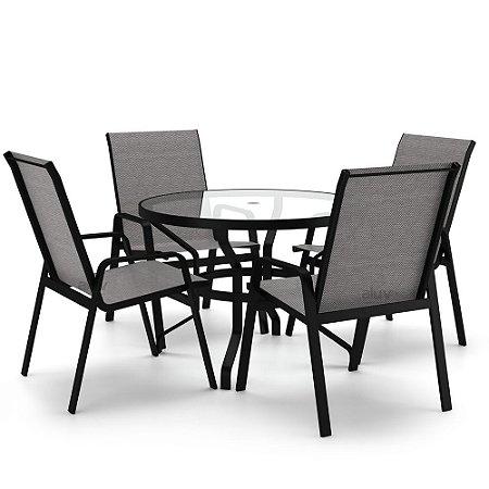 Conjunto de 4 Cadeiras Vidro Juquey Alumínio Preto Tela Mescla