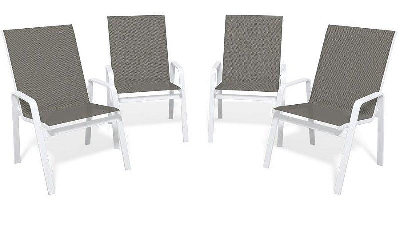 Kit 4 Cadeira Riviera Piscina Alumínio Branco Tela Mescla