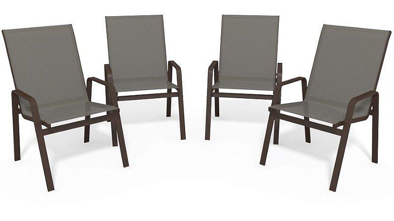 Kit 4 Cadeira Riviera Piscina Alumínio Marrom Tela Mescla