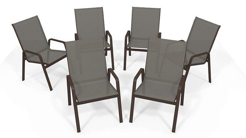 Kit 6 Cadeira Riviera Piscina Alumínio Marrom Tela Mescla