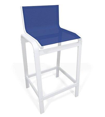 Banqueta Alta Bancada Alumínio Branco Tela Azul