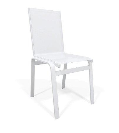 Cadeira Jantar Área Gourmet Alumínio Branco Tela Branco