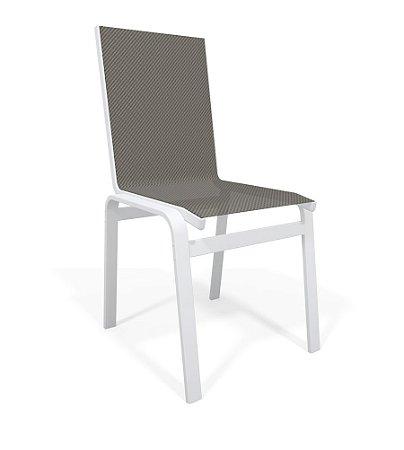 Cadeira Jantar Área Gourmet Alumínio Branco Tela Mescla