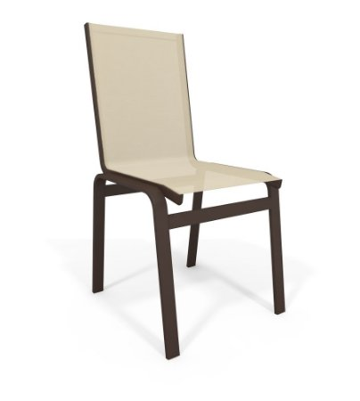 Cadeira Jantar Área Gourmet Alumínio Marrom Tela Bege