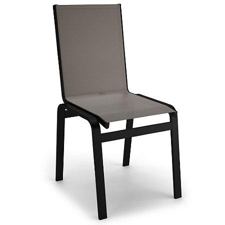 Cadeira Jantar Área Gourmet Alumínio Preto Tela Fendi