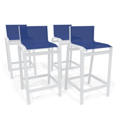 Kit 4 Banquetas Altas bancada Alumínio Branco Azul