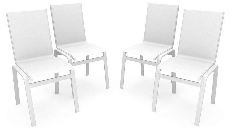 Kit 4 Cadeira Jantar Gourmet Alumínio Branco Tela Branco