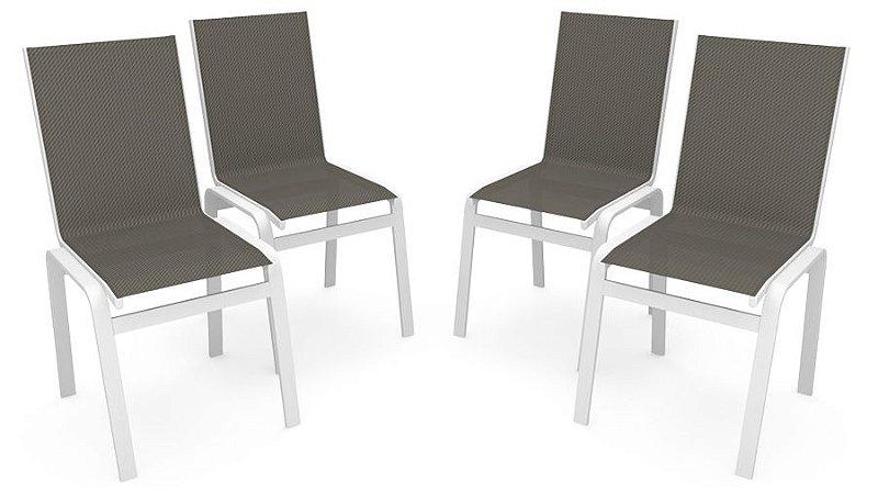 Kit 4 Cadeira Jantar Gourmet Alumínio Branco Tela Mescla