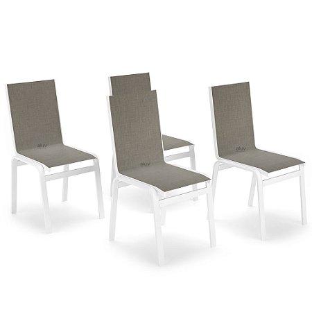 Kit 4 Cadeira Jantar Gourmet Alumínio Branco Tela Mocca