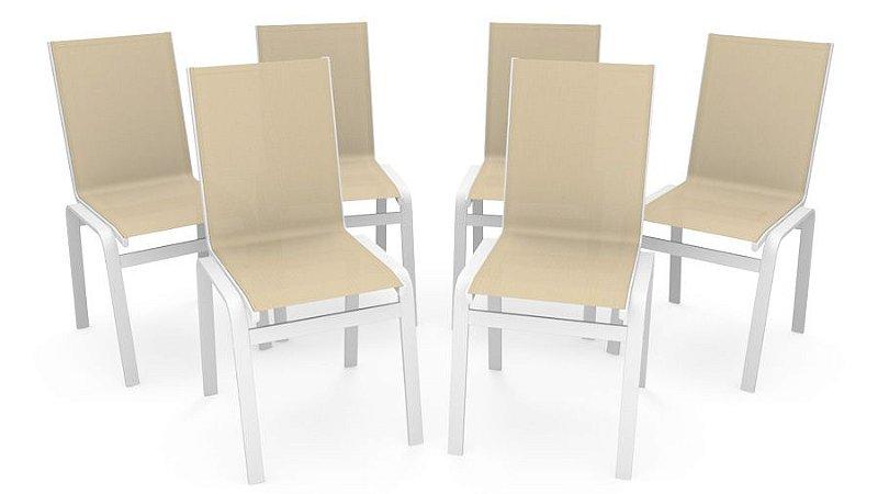 Kit 6 Cadeira Jantar Gourmet Alumínio Branco Tela Bege