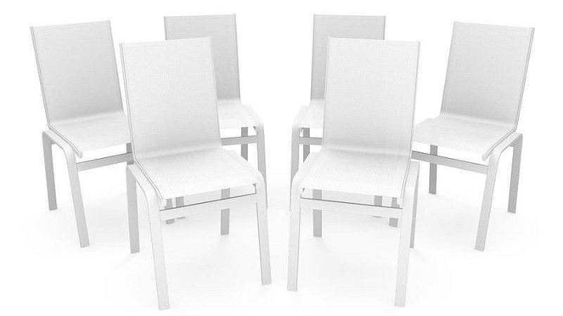 Kit 6 Cadeira Jantar Gourmet Alumínio Branco Tela Branco