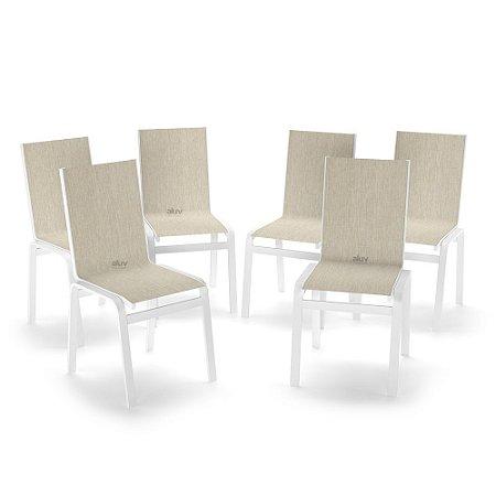 Kit 6 Cadeira Jantar Gourmet Alumínio Branco Tela Crepe