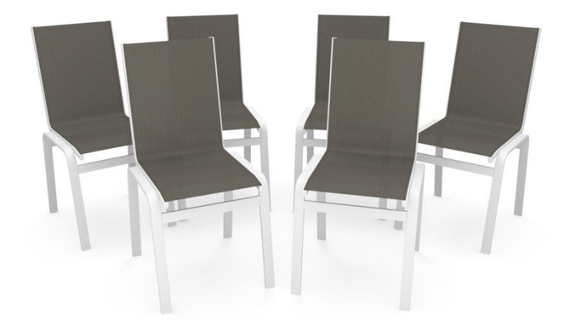 Kit 6 Cadeira Jantar Gourmet Alumínio Branco Tela Mescla