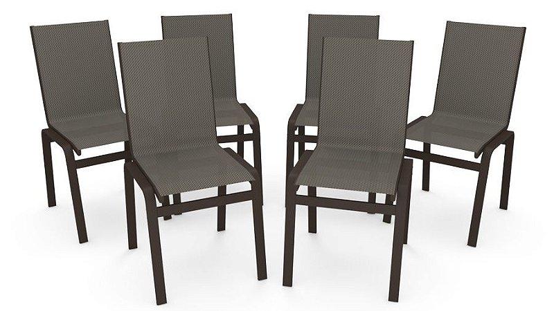 Kit 6 Cadeira Jantar Gourmet Alumínio Marrom Tela Mescla