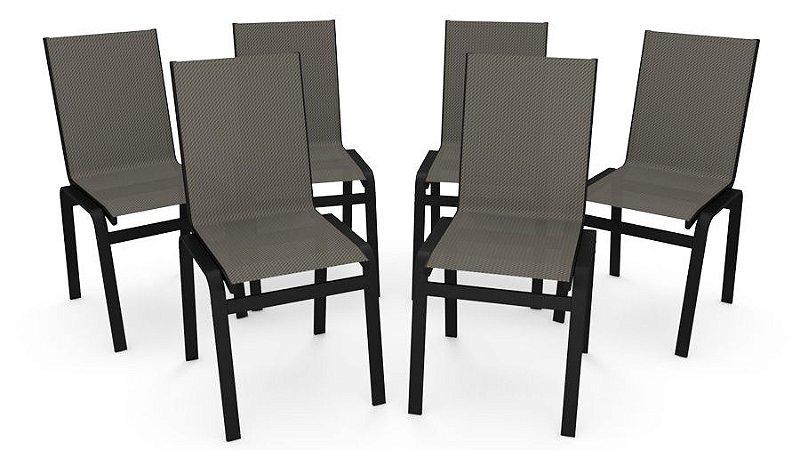 Kit 6 Cadeira Jantar Gourmet Alumínio Preto Tela Mescla