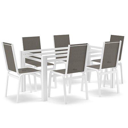 Sala Jantar 6 Lugares S/ Vidro Alumínio Branco Tela Fendi