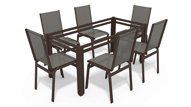Sala Jantar 6 Lugares S/ Vidro Alumínio Marrom Tela Mescla