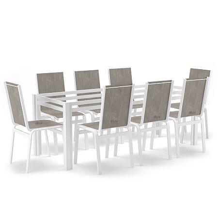 Sala Jantar 8 Lugares S/ Vidro Alumínio Branco Tela Mocca