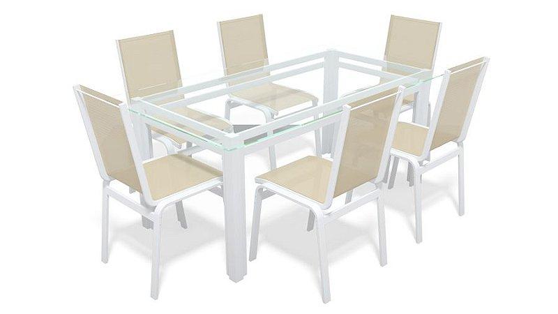 Sala Jantar Retangular 6 Lugares Alumínio Branco Tela Bege